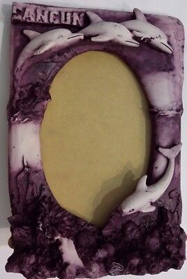 Dolphin Molded Picture Photo Frame Purple/Wine Stand Up 5 x 7 Cancun Souvenir.