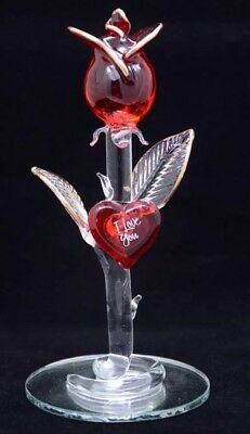 Red Rose Glass Ornament Gift Love Heart I Love You