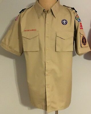 Boy Scouts Of America Short Sleeve Uniform Shirt Den Leader Patches Large Adult