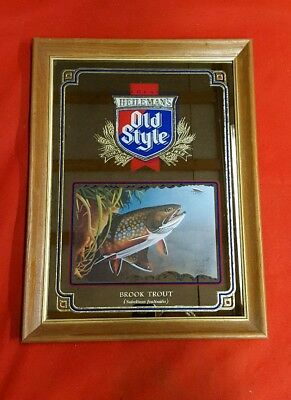 1992 Old Style Beer Brook Trout Mirror Fishing Man Cave Bar Vintage