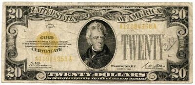 1928 20 Dollar Gold Certificate F/VF FR#2402, number 380 written on front