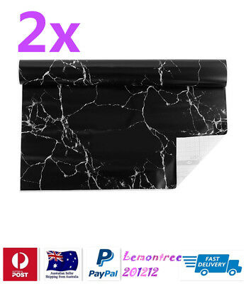 2x Self Adhesive Vinyl Contact Paper Black Marble colour
