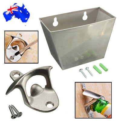 NEW Wall Mounted Bar Beer Bottle Opener  With Screws Cap Catcher Box Stainless