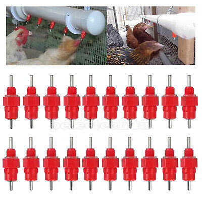 20x Water Nipple Valves Auto Drinker Waterer Feeder Poultry Chicken Bird Duck AU