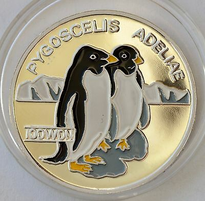 Korea 100 WON 1995, Pinguins, Color silver, World Wide Fund for Nature