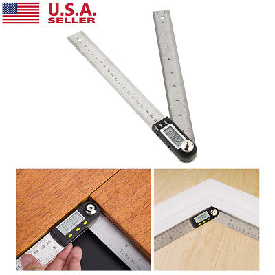 US 2 way Electronic Protractor Digital Goniometer Angle Finder Miter Gauge Ruler