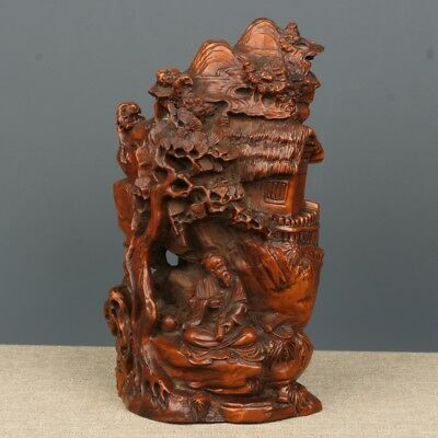 China Exquisite Hand-carved Old man child landscape carving Boxwood statue