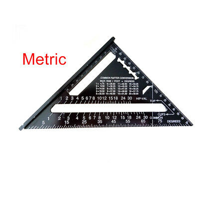 "Aluminum Alloy Speed Framing Rafter Square Metric/Imperial system 7"" ruler QW1"