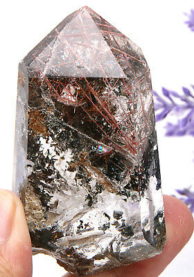 90.4g Natural Beautiful Hair Rutilated Quartz Crystal Wand Point Specimen
