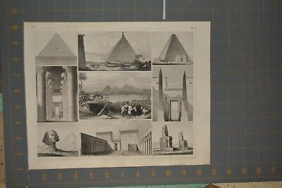 1849 Antique Engraving of Ancient Egypt Great Pyramids