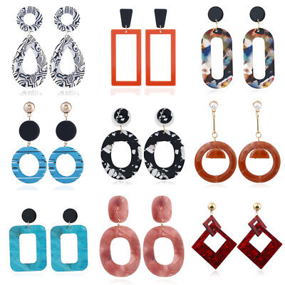 Women Fashion Earrings Retro Resin Geometric Long Dangle Drop Stud Earrings New