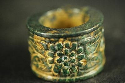 Rare Chinese old green jade carved flower Thumb Ring D99