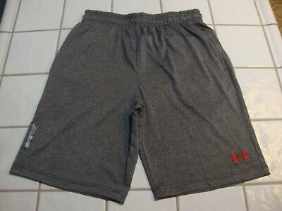 UNDER ARMOUR Gray Heather Shorts Athletic Loose 3 Zipper Pockets Tennis Mens XL