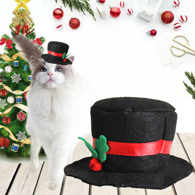 Pet Puppy Dog Cat Christmas Hat Black Hat Cap Xmas Red-Holiday Costume Apparel