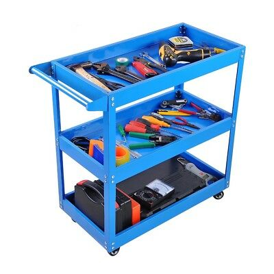 3 Tier Tool Cart 200KG Load Heavy Duty Metal Trolley Mechanic Handyman Lockable