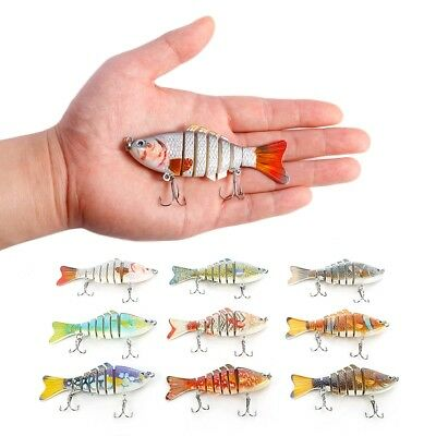 HOT 3D Lifelike Fishing Artificial Lure Bait Swimbait Crankbait Multi-jointed US