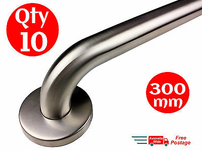 10x SAFETY RAIL 300mm GRAB BAR STAINLESS STEEL HANDLE HAND BATHROOM HANDRAIL