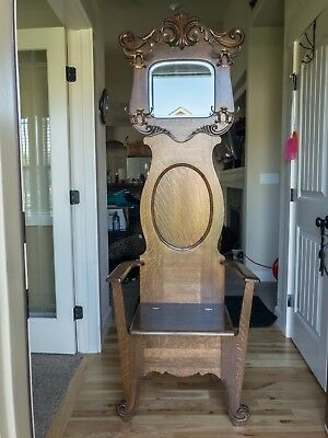 Antique Hall Tree – Original Condition – Beveled Mirror, Scroll Arms, Hooks