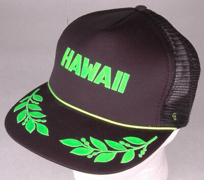7d15ae9a510 Vtg HAWAII Hat-Puff Letters-Black Green-Mesh-Foam Front-