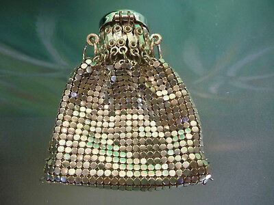 RARE Vintage Silver WHITING & DAVIS Mini Beggars COIN Purse Metal Mesh XLNT Cond