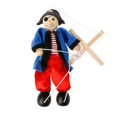 Pull String Puppet Marionette Joint Activity Pirate Doll Wooden Vintage Toy