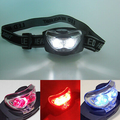 2017 Headlamp Handsfree 3 LED Camping 3 Modes White + Red Head Torch Headlight #