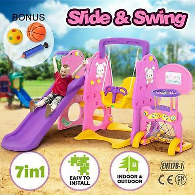 Swing and Slide Set Kids Fun Outdoor Play Colorful 7-in-1 Play Station Toys