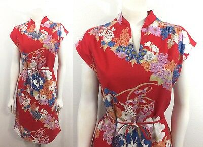 Vintage Hawaiian Dress Red Psychedelic Tropical Floral Print 70s Shift Dress