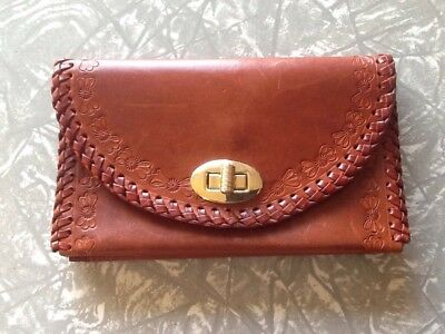 Cute Boho / Vintage leather hand tooled wallet