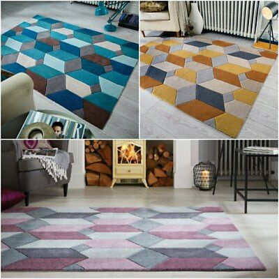 Heavy Weight Quality Handtufted Teal Orche and Purple Rug Thick Carpet