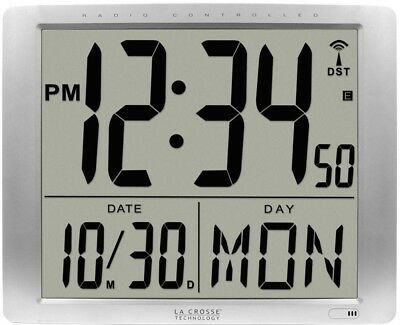 Extra Large Atomic Digital Wall Clock Self-set Time Date Calendar Silver Decor