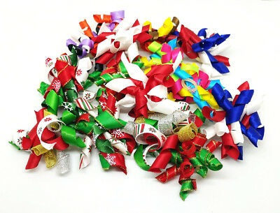 Mixed Pet Small Dog Hair Bow With Rubber Band Xmas Halloween Puppy Cat Grooming