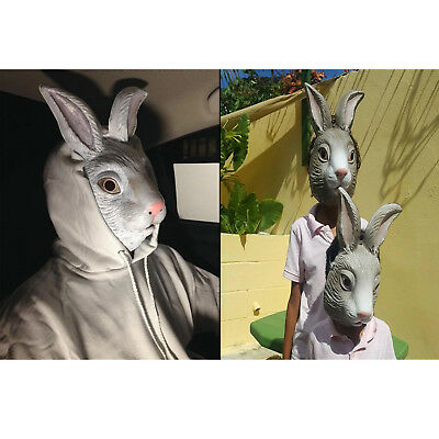 Rabbit Mask Realistic Animal Halloween Costume Prop Plastic Face Party Cosplay