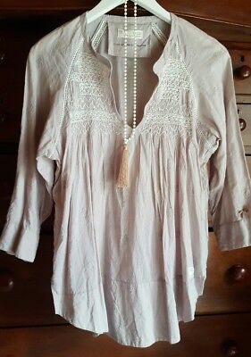 ODD MOLLY ladies boho beige smocked blouse top size 2 (8-10)