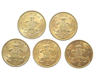 Great Britain, Decimal 2P Twopence Set, 5 Coins, Near Unc, 1975-1980
