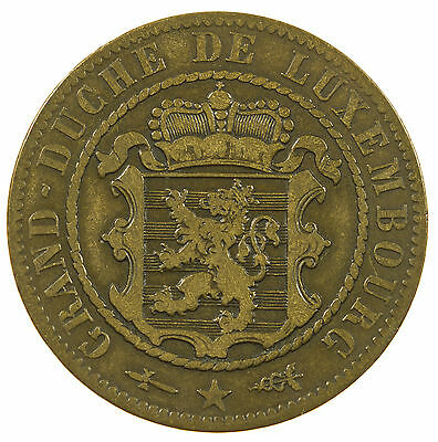 Luxembourg, 10 Centimes, Low Mintage, Scarce, 1854