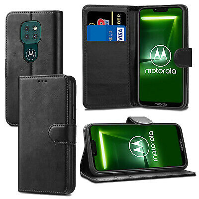 For Motorola Moto C G4 G5 E4 / E4 Plus E3 - Black Leather Flip Wallet Case Cover