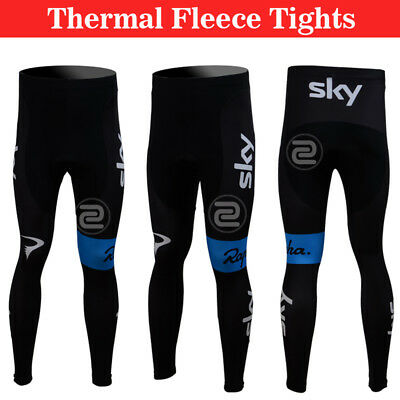 Thermal Mens Bike Team Cycling Riding Padded Pants Winter Fleece Tights Trousers