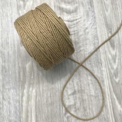 Tan Brown 2mm Cotton Macrame Rope Cord per 10 metres