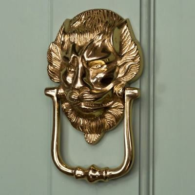 The Downing Street Lion Polished Solid Brass Lion Head Door Knocker