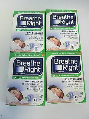 Lot of 4 Breathe Right Extra Clear, 40 Clear Strips