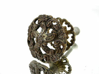 (1) Vintage Brass Dresser Drawer Cabinet Handle Pull Hardware Ornate Flower