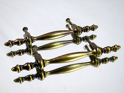 (2) Vintage Brass Dresser Drawer Cabinet Handle Pulls knob Hardware Ornate Old