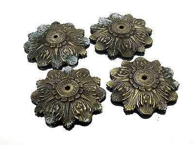 (4) Antique Brass Ornate Pull Handle Drawer Overlays Cabinet Hardware Victorian