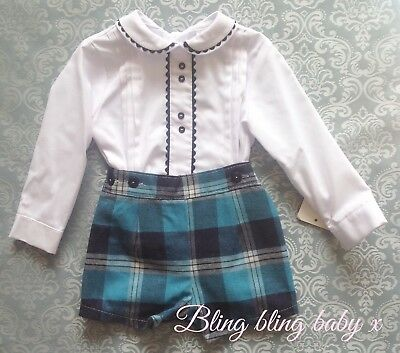 Baby Boys Spanish Shorts Romper Outfit Set Shirt 3-6 Months Romany Tartan