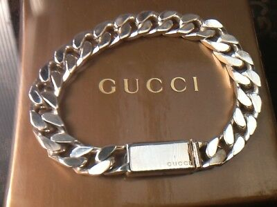 """Men's or Women's Small Gucci Curb Bracelet Sterling Silver 7.5"""" 100% Genuine"""