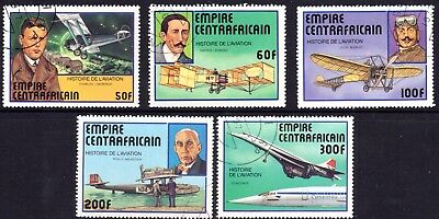 PLANES on stamps. CENTRAL AFRICAN EMPIRE 1977 Set of 5 CTO