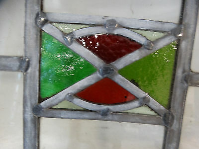 antique vintage stained glass window 16'' x 11''