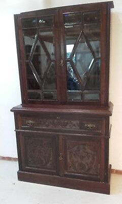 tall large mahogany bookcase/ displayunit c/w drop front writing desk +  storage