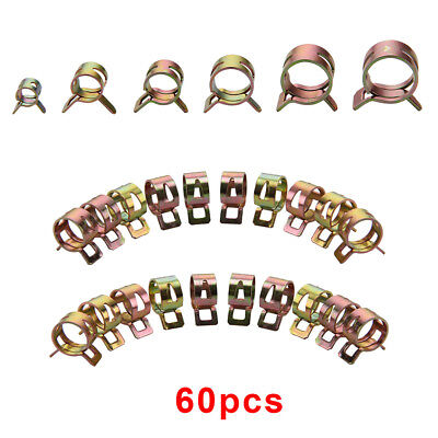 60pcs Water Pipe Air Tube Clamp Fuel Line Hose Spring Clip Φ15/14/12/10/9mm/6mm